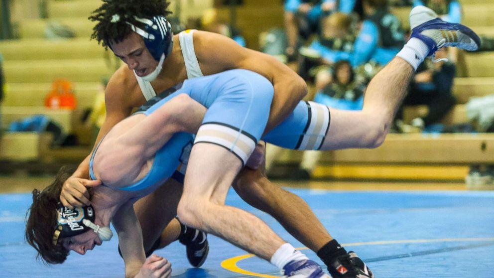 Buena High School wrestler Andrew Johnson wrestles Lower Cape May's Bobby O'Brien at 126lb at Buena Regional High School, Jan. 17, 2018, in Buena, N.J.