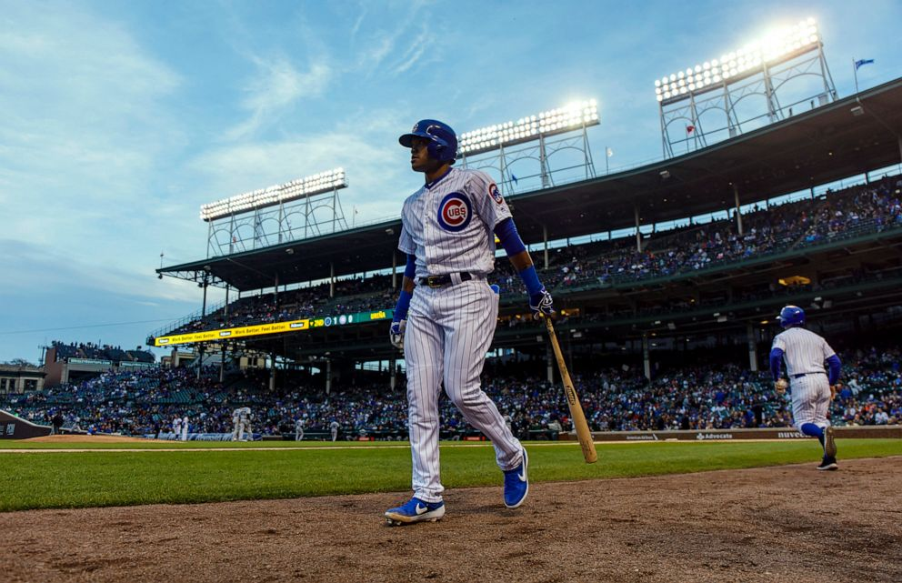 PHOTO: Chicago Cubs second baseman Addison Russell waits to bat against the Miami Marlins at Wrigley Field in Chicago, May 8, 2019.