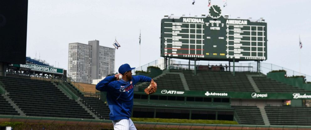 PHOTO: Addison Russell #27 of the Chicago Cubs warms up before the game against the Miami Marlins at Wrigley Field, May 8, 2019, in Chicago.