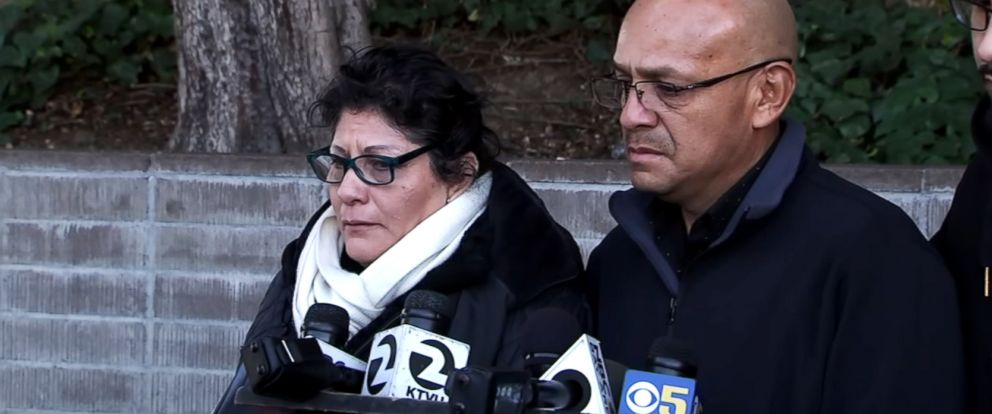 PHOTO: The parents of Jenny Vasquez, a 24-year-old woman who was shot and killed by police, speak to the media in San Jose, Calif.