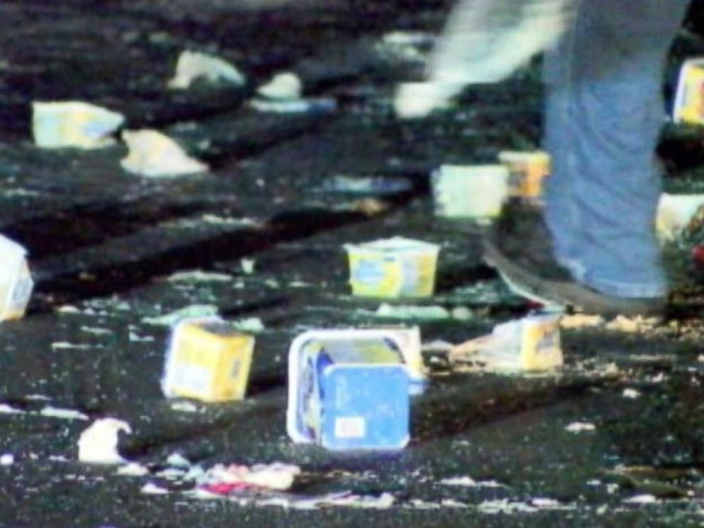 PHOTO: A video grab from WRTV shows some of the 45,000 pounds of dairy products spilled onto I-465 outside Indianapolis, Indiana at around 3:30am on August 1, 2014.