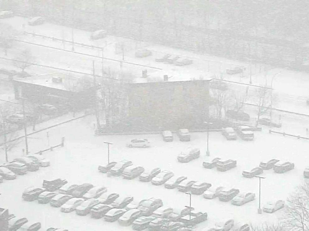 PHOTO: Snow blankets a Connecticut parking lot, Feb. 12, 2019.