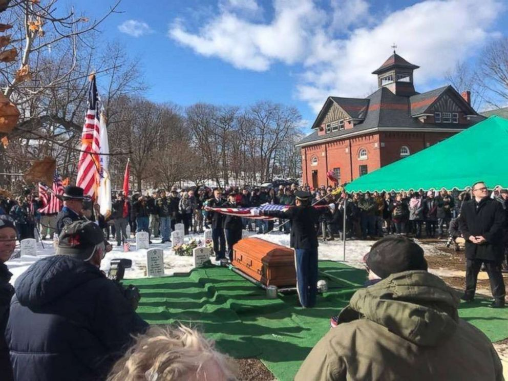 PHOTO: The Lawrence Police Department take part in the funeral services for World War II Veteran James McCue buried in the Veterans Section of Bellevue Cemetery in Lawrence, Mass., Feb. 14, 2019.