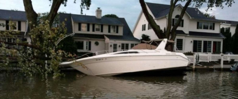 PHOTO: A tree falls on a boat in Vermillion, Ohio.