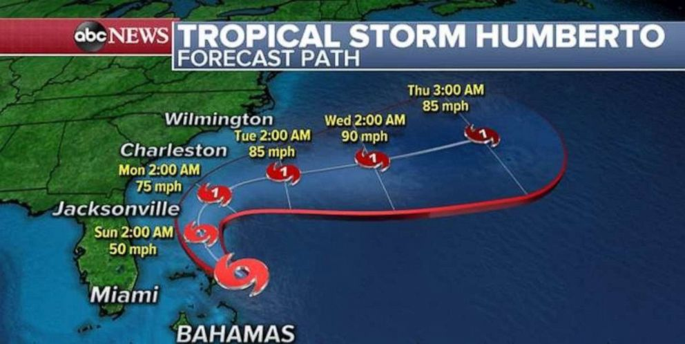 PHOTO: Tropical Storm Humberto could approach the U.S.