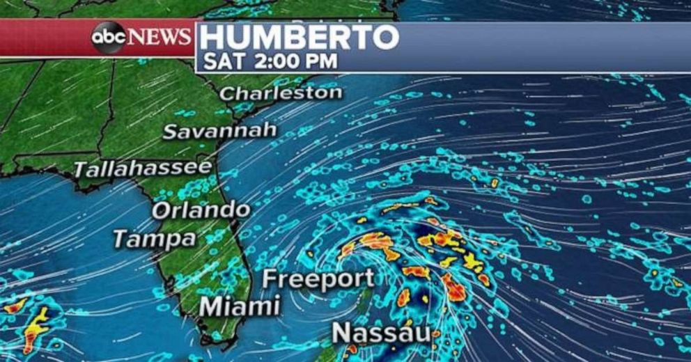 PHOTO: Tropical Storm Humberto is sits off the coast.