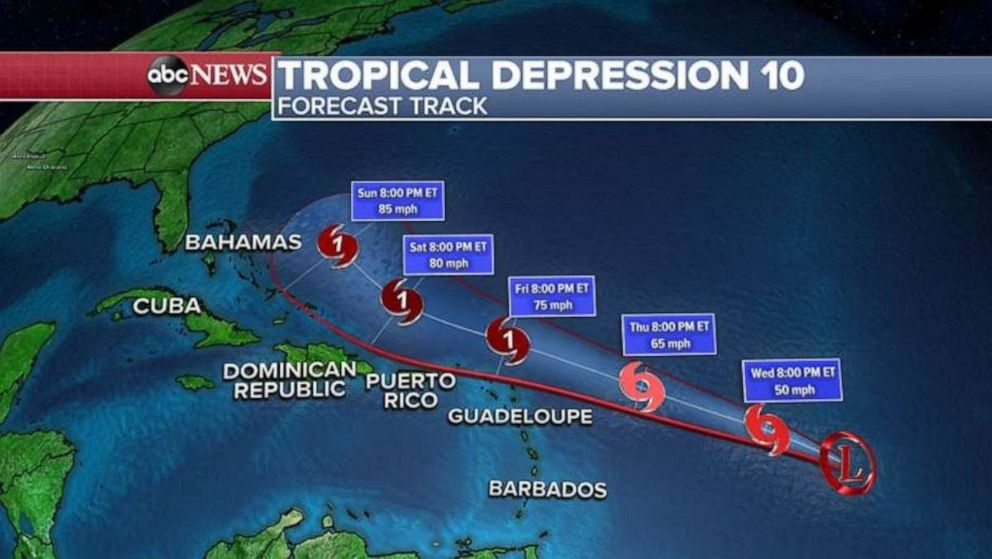 PHOTO: Tropical Depression 10 makes its way east.