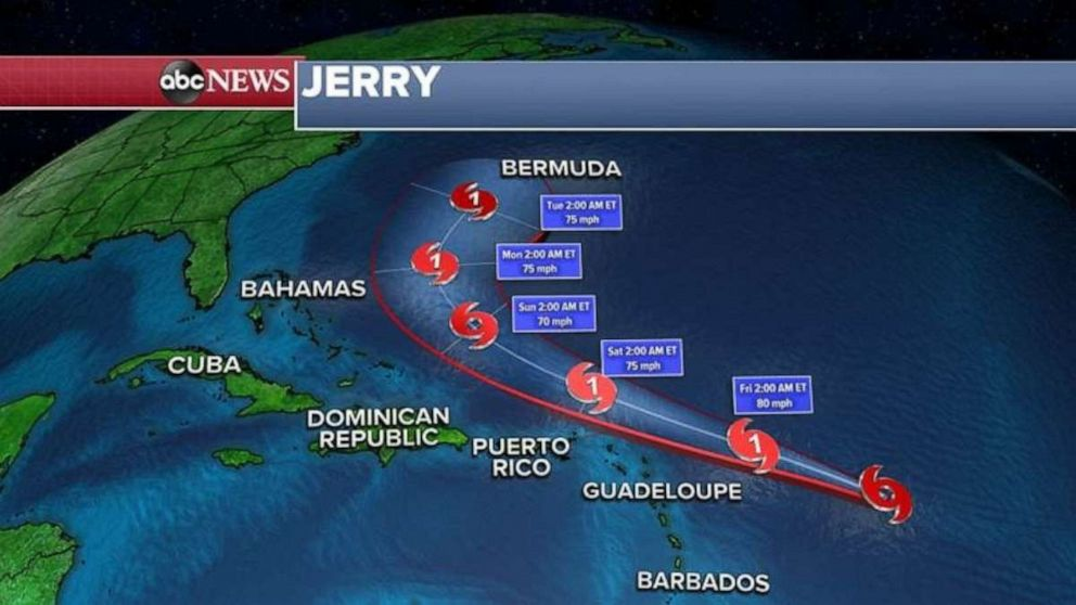 PHOTO: Jerry turns past the Caribbean islands.