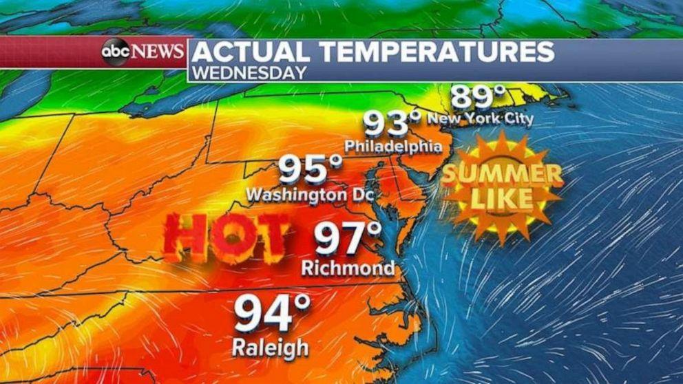 PHOTO: Wednesday temperatures.