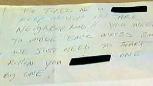 Residents Receive Letters Filled with Racial Slurs and Threats
