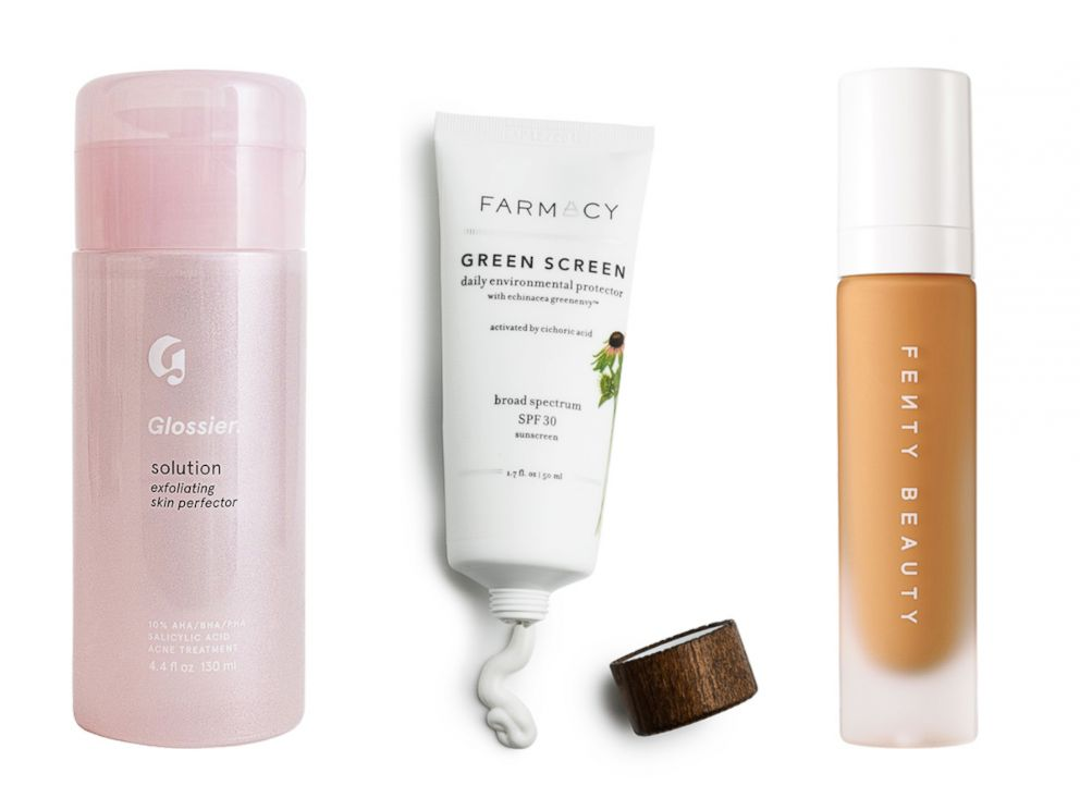 PHOTO: Glossier Solution won for best acne-hyper-pigmentation product | Farmacy Green Screen Daily Environmental Protector won for best sunscreen for all | Fenty Beauty Pro Filtr Soft Matte Longwear Foundation won for best inclusive foundation.