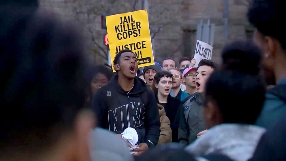 PHOTO: Students protest on the Yale campus after a recent police involved shooting.