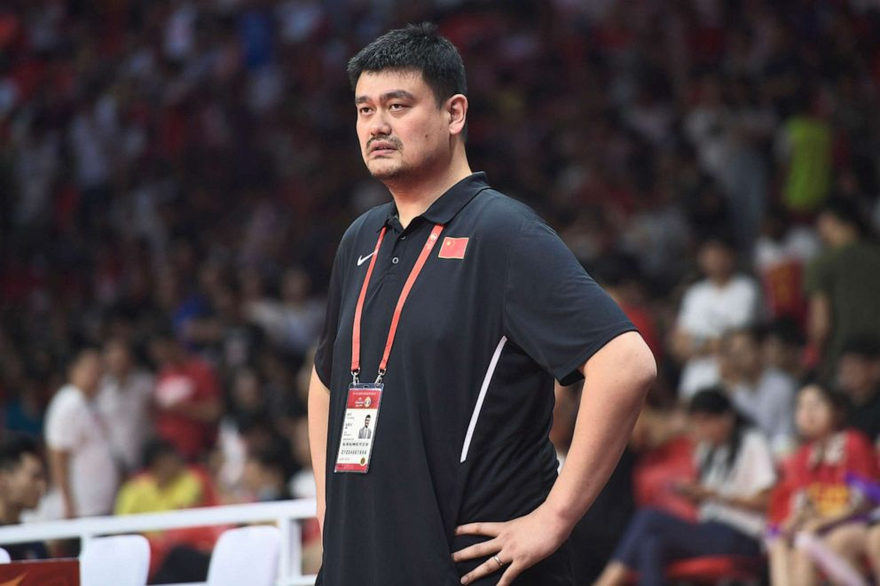 PHOTO: Yao Ming, president of Chinese Basketball Association (CBA), looks on from the bench during FIBA World Cup 2019 Group M match between China and Nigeria at Guangzhou Gymnasium on September 8, 2019, in Guangzhou, Guangdong Province of China.