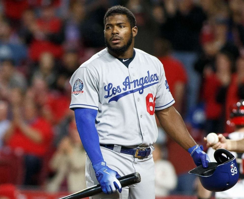 Yasiel Puig of the Los Angeles Dodgers reacts after grounding out against the Cincinnati Reds on Sept. 10, 2018 in Cincinnati, Ohio.