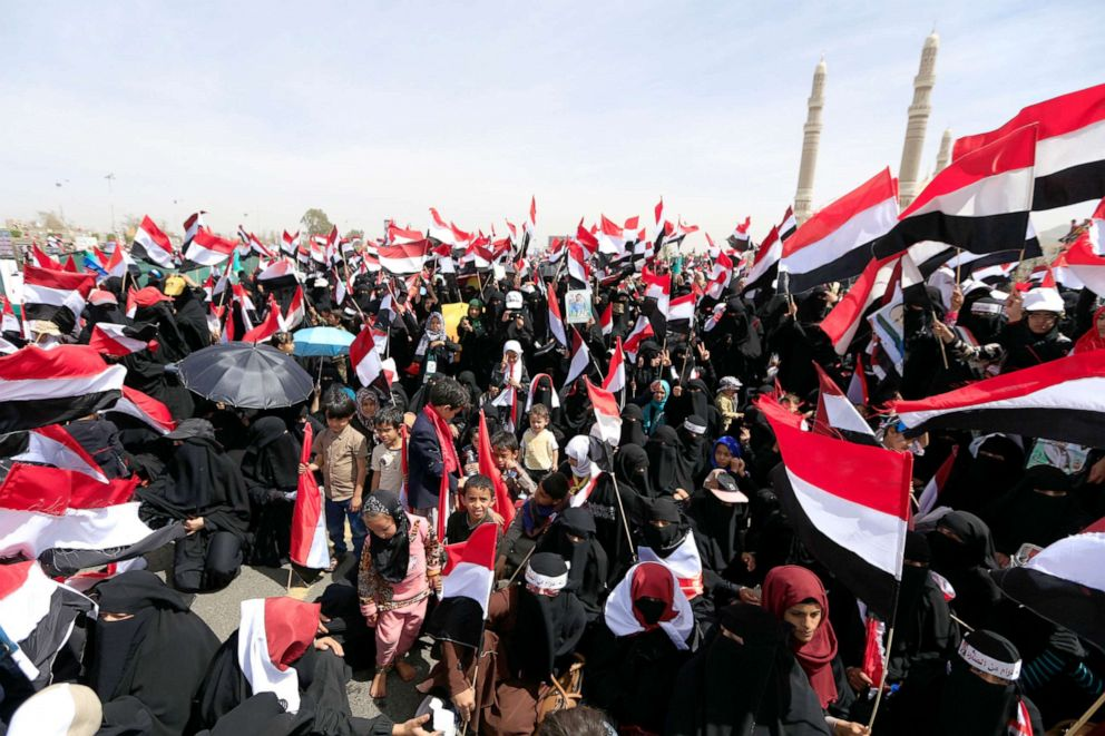 Supporters of Yemen's Huthi rebels attend a rally marking the fourth anniversary of the Saudi-led coalition's intervention in Yemen, in Sanaa, March 26, 2019.