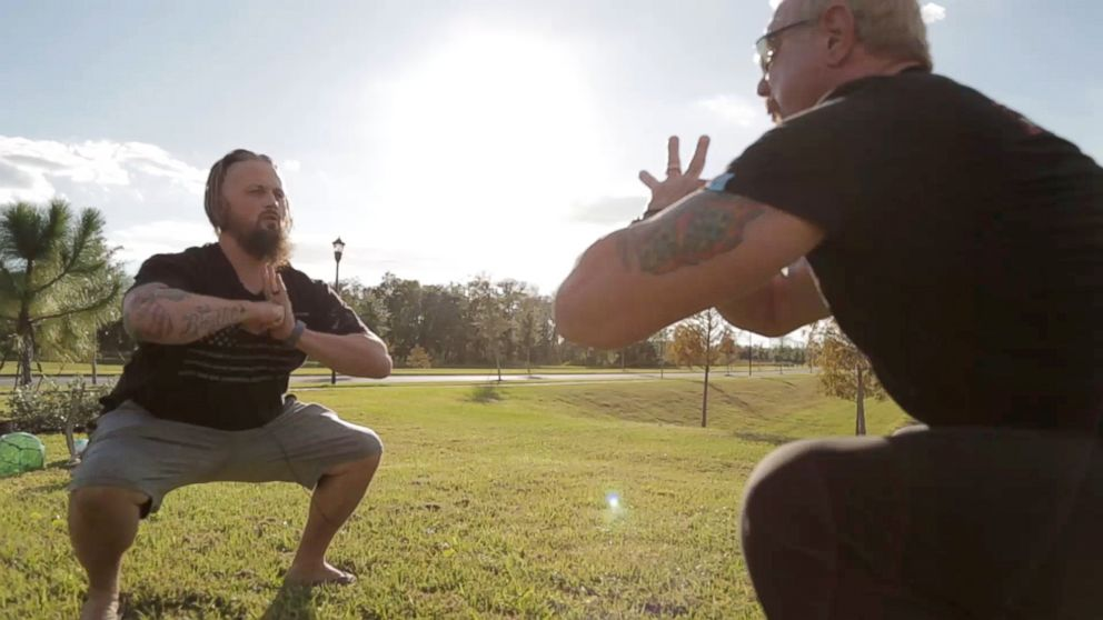 Army veteran Buddy Rich's weight increased to over 300 pounds and he fell into a severe depression after a 2011 semi-truck accident crushed his hip and legs. He lost 125 pounds through a yoga plan of former pro wrestler Diamond Dallas Page, right.