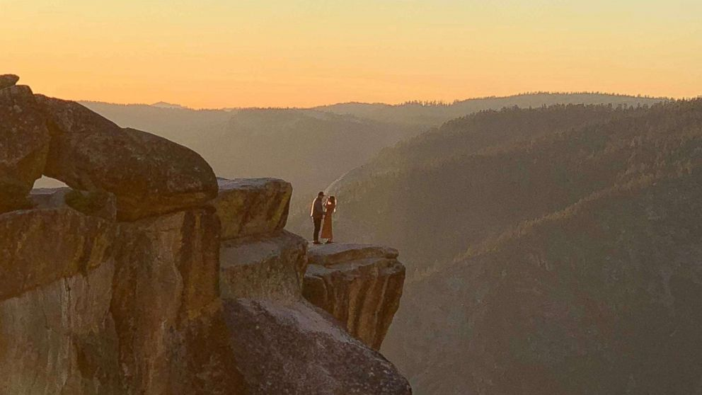 A photographer in Yosemite National Park captured a stunning proposal at Taft Point. October 28, 2018.