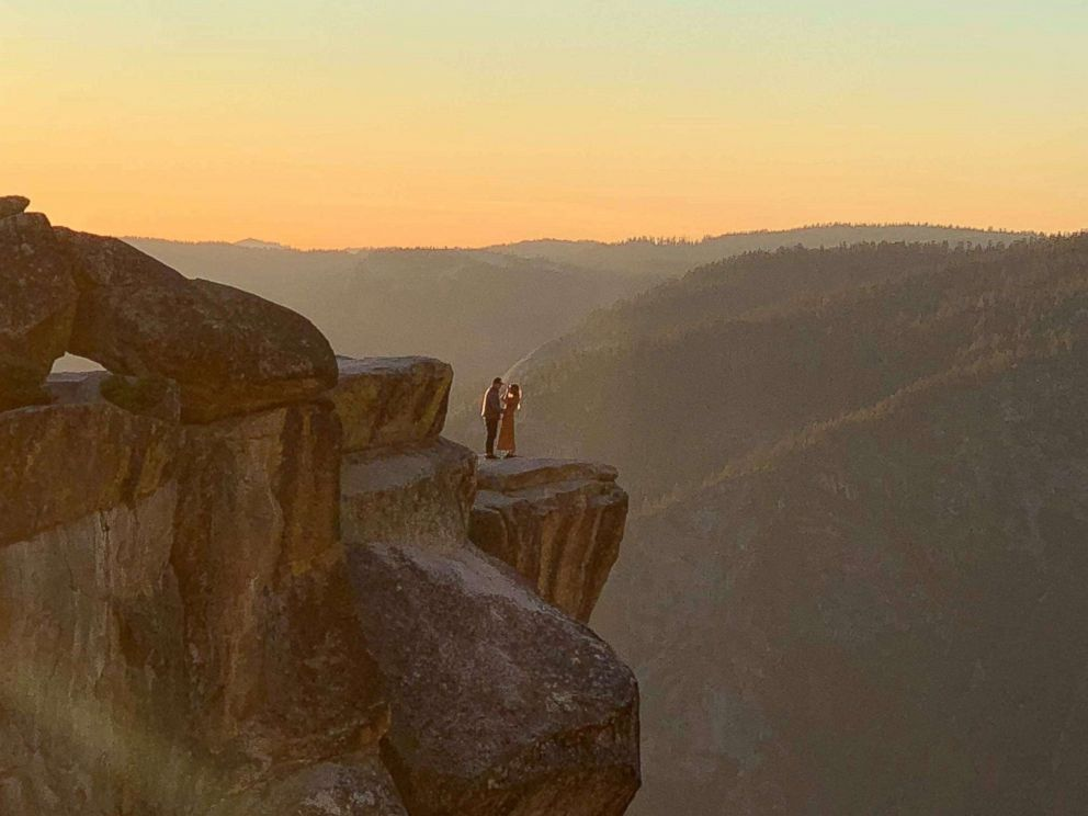 PHOTO: A photographer in Yosemite National Park captured a stunning proposal at Taft Point. October 28, 2018.