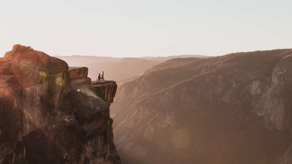 Photographer Matthew Dippel shared a stunning image of a couple's proposal at Taft Point in Yosemite National Park. October 28, 2018