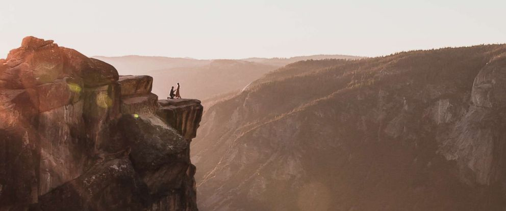 PHOTO: Photographer Matthew Dippel shared a stunning image of a couples proposal at Taft Point in Yosemite National Park. October 28, 2018