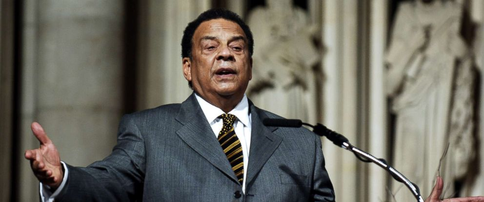 "PHOTO: Andrew Young addresses the audience at The ""Realizing the Dream"" Martin Luther King Jr Tribute at Riverside Church in New York, Jan. 15, 2006."