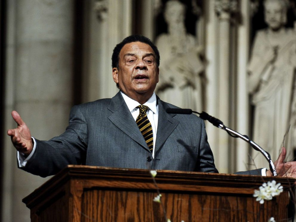 PHOTO: Andrew Young addresses the audience at The Realizing the Dream Martin Luther King Jr Tribute at Riverside Church in New York, Jan. 15, 2006.