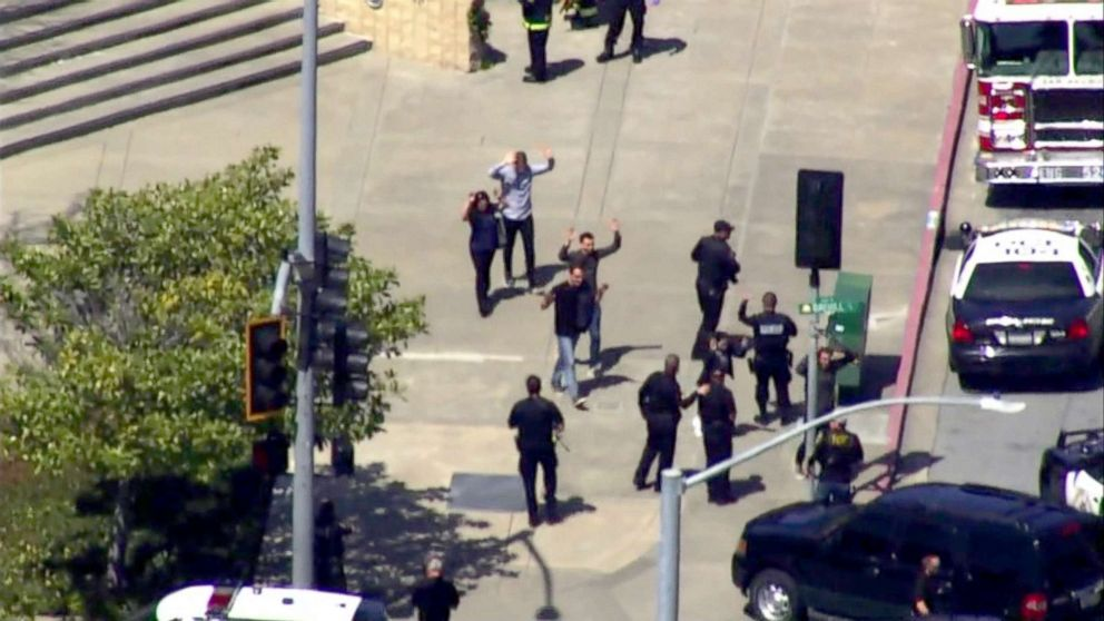 California police respond to reports of an active shooter at the YouTube headquarters in San Bruno, Calif., April 3, 2018.