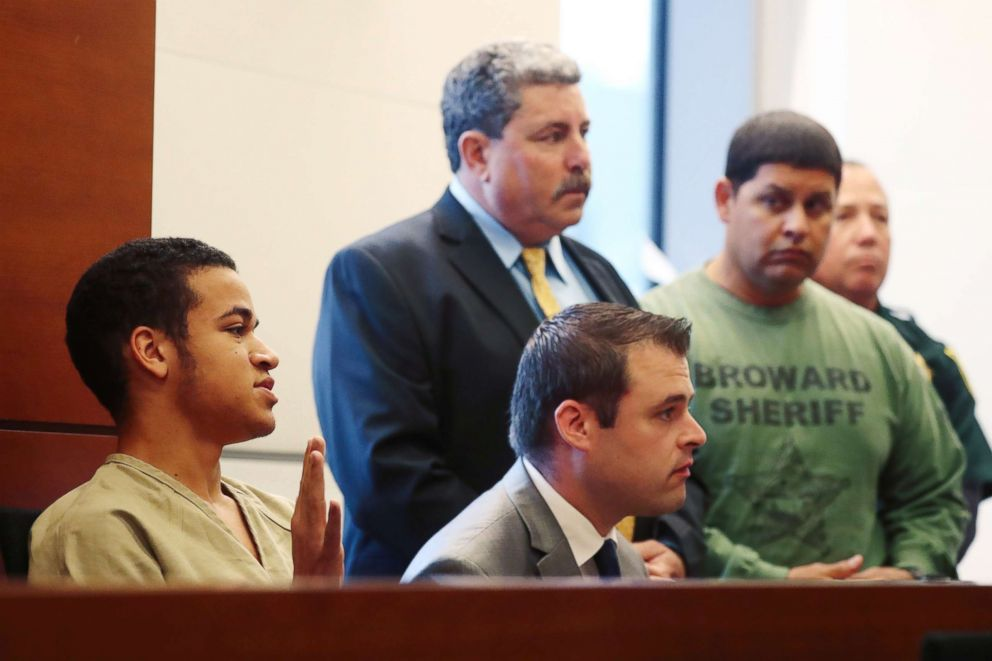 PHOTO: Zachary Cruz is sworn in during a bond hearing in Broward court in Fort Lauderdale, Fla. in this March 29, 2018 file photo.
