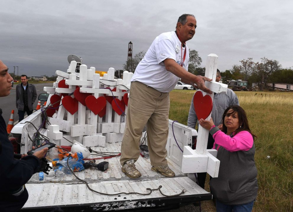 PHOTO: Carpenter Greg Zanis unloads his crosses outside the First Baptist Church which was the scene of the mass shooting that killed 26 people in Sutherland Springs, Texas, Nov. 8, 2017.