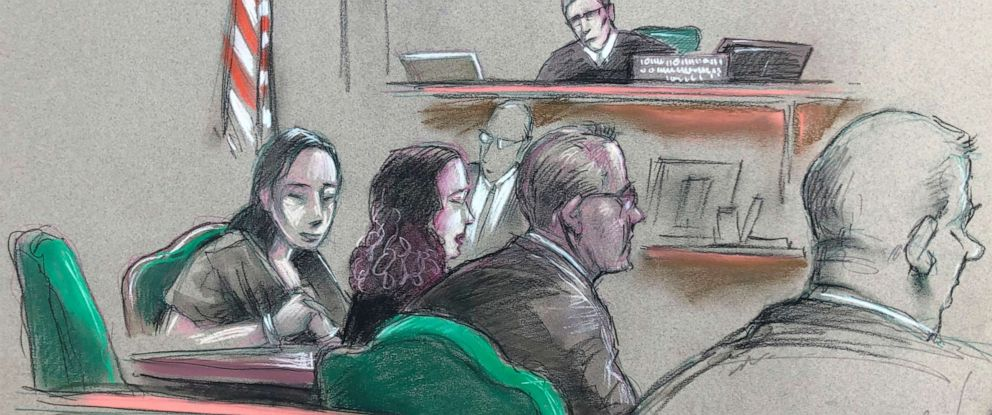 PHOTO: In this artist sketch Yujing Zhang, left, listens during a hearing Monday, April 8, 2019, before federal Magistrate Judge William Matthewman in West Palm Beach, Fla.