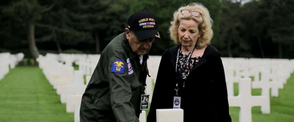 PHOTO: World War II veteran Onofrio Zicari, 96, revisited the grave marker of friend Donald E. Simmons, who died on D-Day.