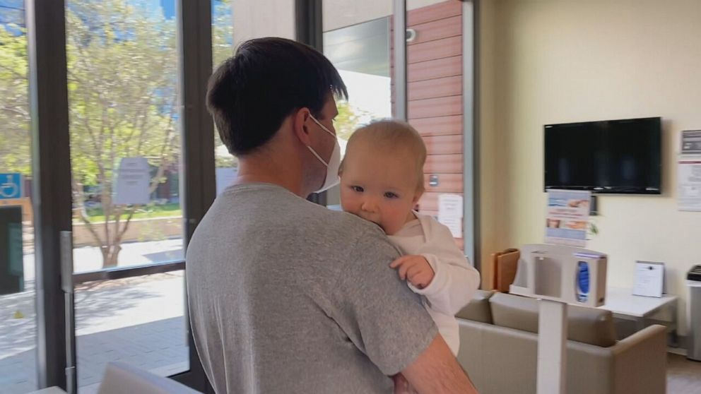 PHOTO: Soren is one of the youngest in Stanford Hospital's Pfizer trial at only 7 months old. He received his first shot last week. Good says he's doing well.