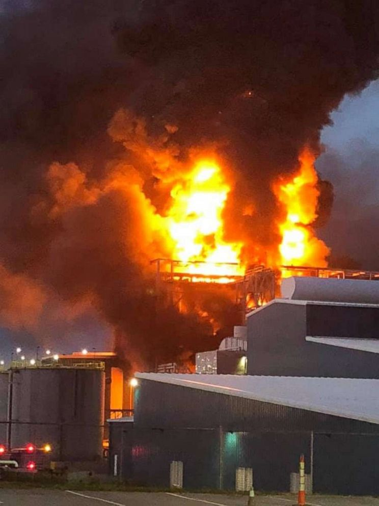 PHOTO: A fire broke out at the American Zinc Products facility in Mooresboro N.C., April 29, 2019.