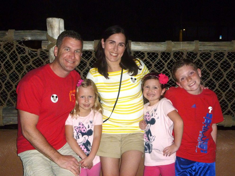 PHOTO: Edward Zubrzycki with his then pregnant wife Rachel Zubrzycki and their three children in 2012 at Disney World. Edward, 43, was a sergeant detective with the Burlington County Prosecutors Office who died by suicide in May 2015.