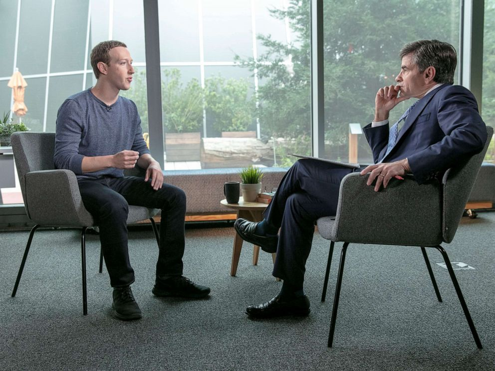 PHOTO: Facebook CEO Mark Zuckerberg sits down with ABCs George Stephanopoulos. April 3, 2019.