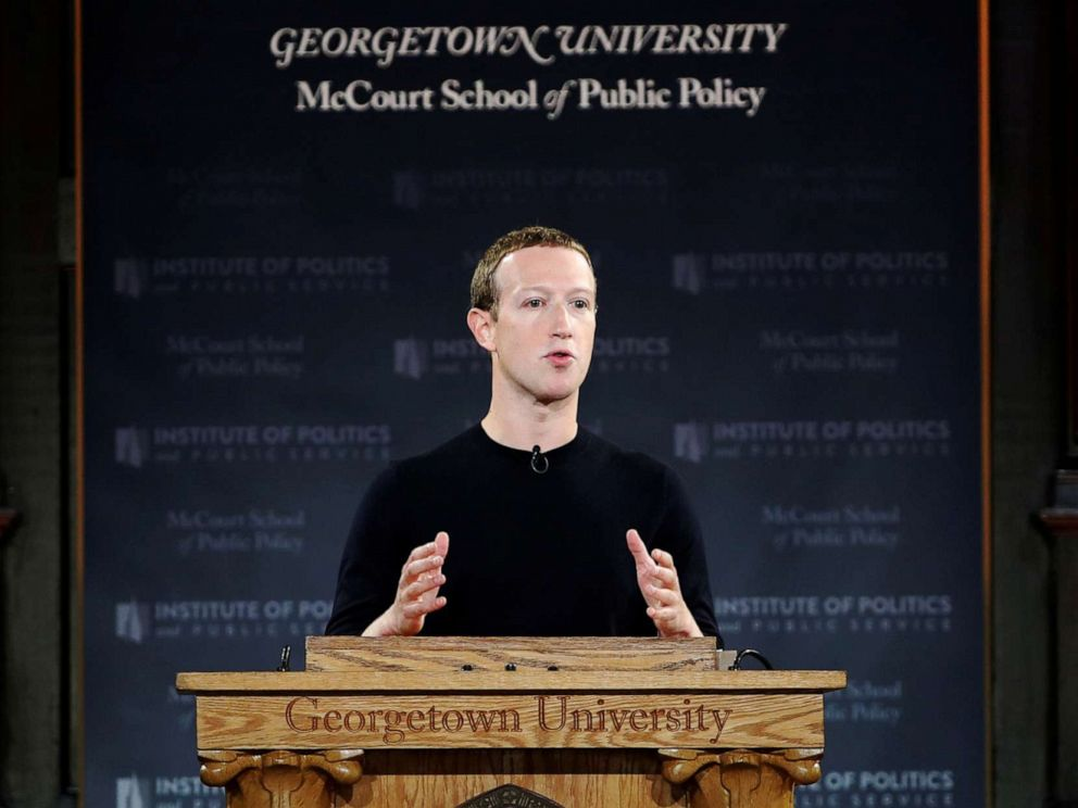 PHOTO: Mark Zuckerberg addresses the audience at a forum hosted by Georgetown Universitys Institute of Politics and Public Service in Washington D.C., Oct.17, 2019.