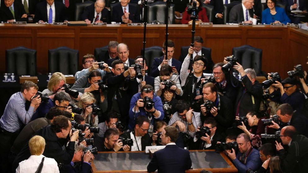 Facebook CEO Mark Zuckerberg is surrounded by members of the media as he prepares to testify before a Senate Judiciary and Commerce Committees joint hearing regarding the company's use and protection of user data, on Capitol Hill in Washington, April 10, 2018.