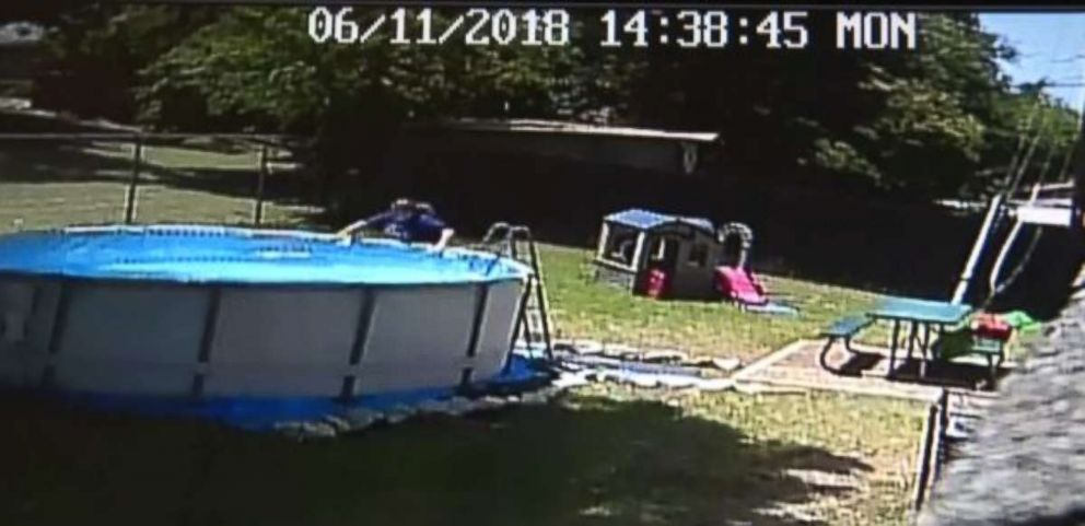Tanah Zuniga's 17-month-old son is seen being pulled out of the backyard pool on surveillance video.