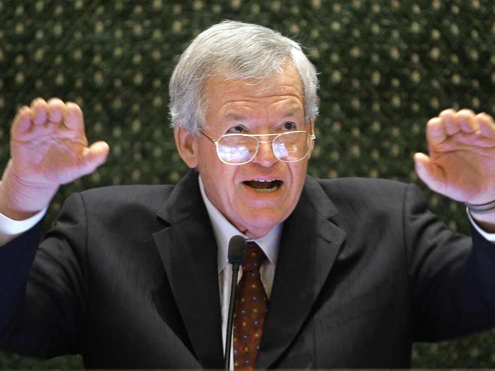 PHOTO: Former U.S. House Speaker Dennis Hastert speaks to lawmakers on the Illinois House of Representatives floor at the state Capitol in Springfield, Ill. in this March 5, 2008 file photo.
