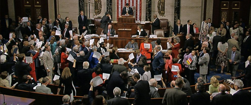 PHOTO: In this image from video provided by House Television, House Speaker Paul Ryan stands at the podium as he brings the House into session Wednesday night, June 22, 2016, in Washington.