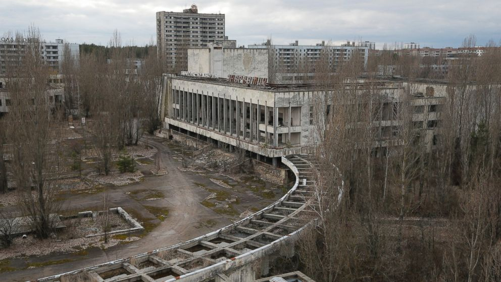 This photo taken March 23, 2016 shows an abandoned apartment buildings in the town of Pripyat near Chernobyl, Ukraine.