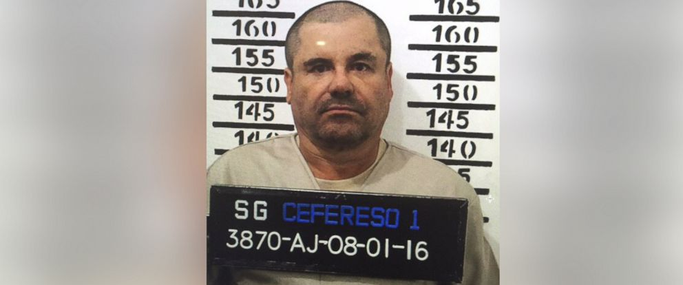 "PHOTO: Joaquin ""El Chapo"" Guzman, stands for his prison mug shot with the inmate number 3870 at the Altiplano maximum security federal prison in Almoloya, Mexico, Jan. 8, 2016."