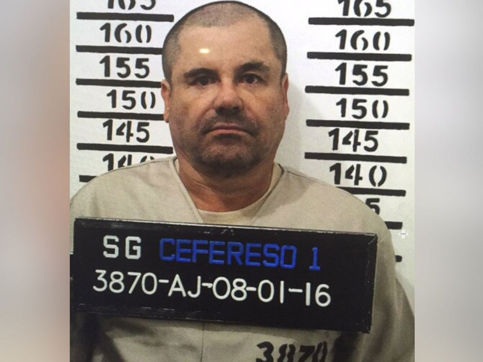 PHOTO:Mexicos most wanted drug lord, Joaquin El Chapo Guzman, stands for his prison mug shot with the inmate number 3870 at the Altiplano maximum security federal prison in Almoloya, Mexico, Jan. 8, 2016.