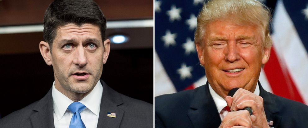 PHOTO: Speaker of the House Paul Ryan, left, and Donald Trump.