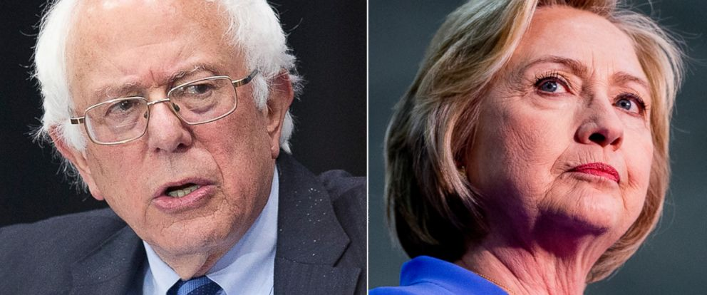 PHOTO:Bernie Sanders speaks at a campaign event, May 2, 2016, in Fort Wayne, Ind. Hillary Clinton stands on stage during a campaign stop in Louisville, Ky., May 15, 2016.