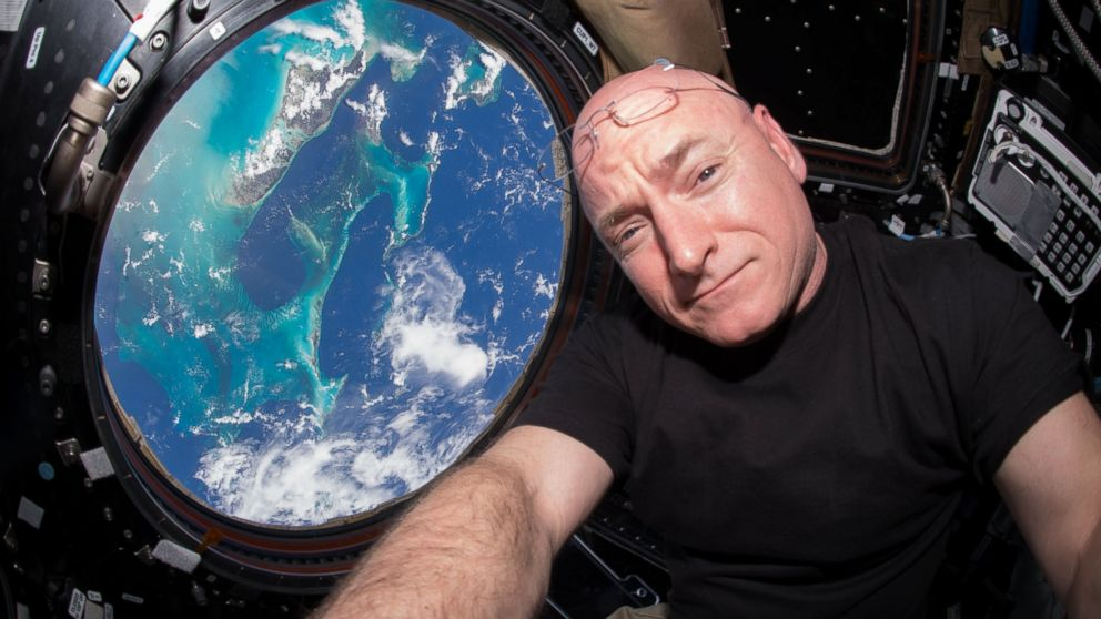 Scott Kelly is seen inside the Cupola, a special module which provides a 360-degree viewing of the Earth and the International Space Station, July 12, 2015.