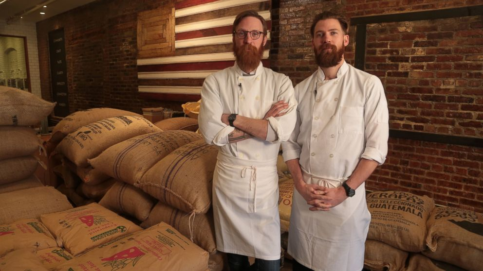 Rick and Michael Mast at their Brooklyn, NY chocolate factory, Mast Brothers Chocolate.