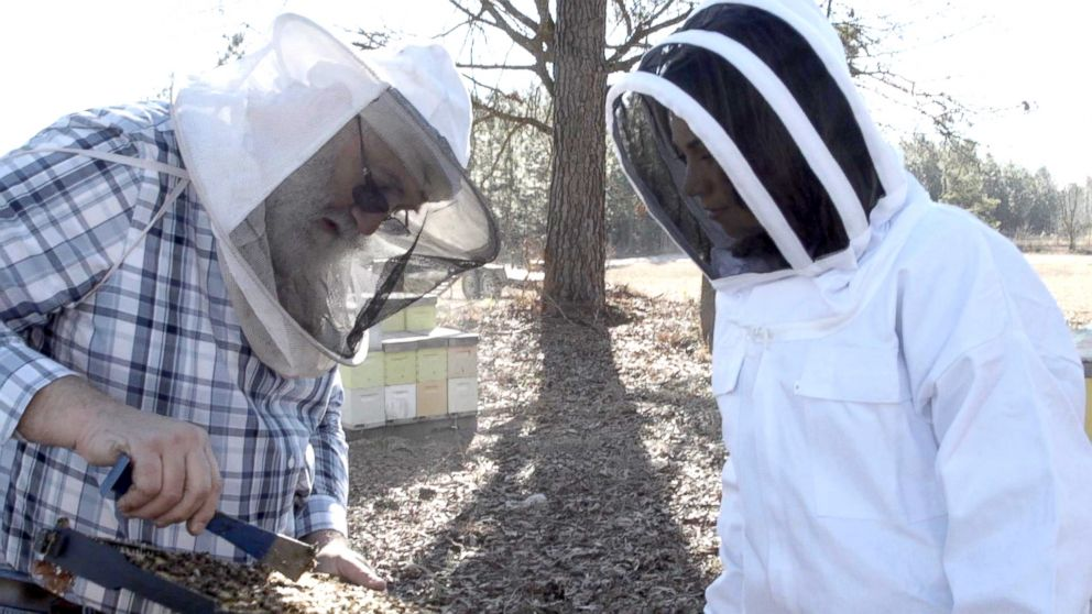 PHOTO: Beekeeper Chuck Kutik with Ginger Zee on his farm in Manning, South Carolina.