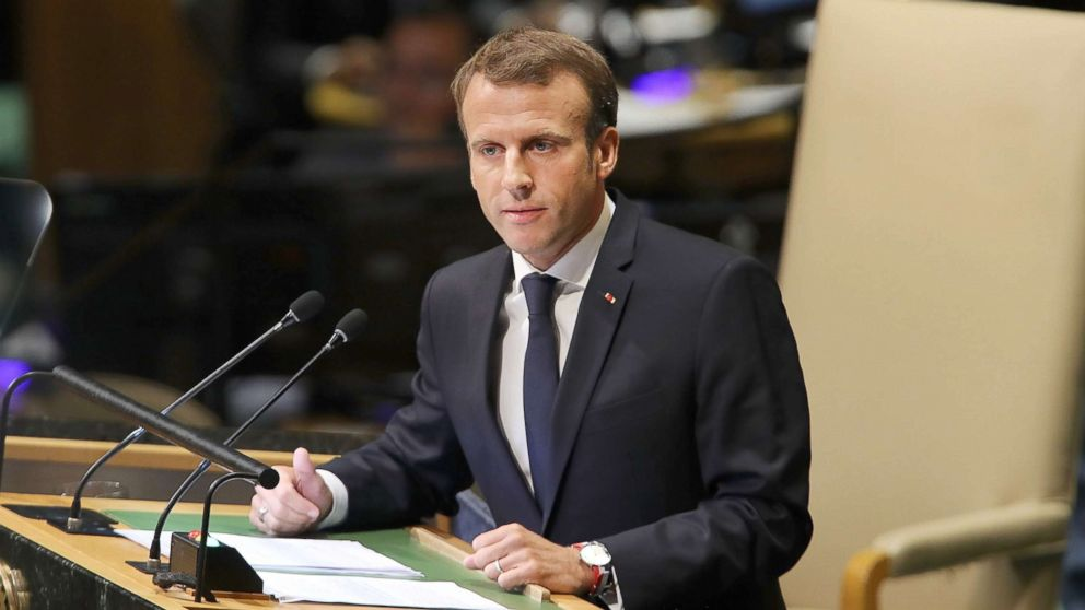 French President Emmanuel Macron addresses the 73rd United Nations General Assembly, Sept. 25, 2018, in New York City.