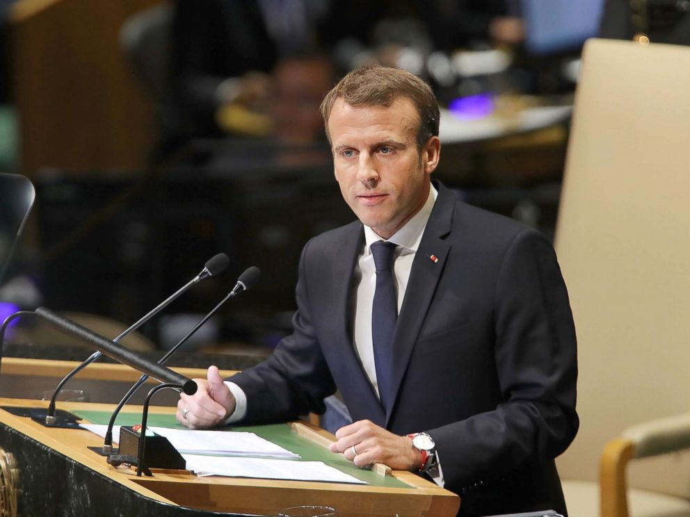 PHOTO: French President Emmanuel Macron addresses the 73rd United Nations General Assembly, Sept. 25, 2018, in New York City.